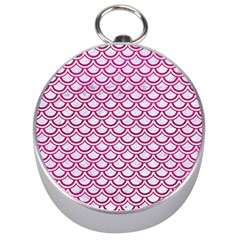 Scales2 White Marble & Pink Leather (r) Silver Compasses
