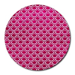 Scales2 White Marble & Pink Leather Round Mousepads