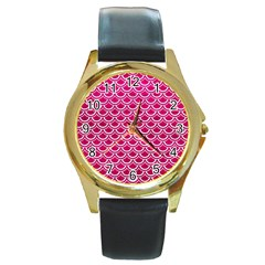 Scales2 White Marble & Pink Leather Round Gold Metal Watch by trendistuff