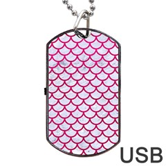 Scales1 White Marble & Pink Leather (r) Dog Tag Usb Flash (two Sides) by trendistuff