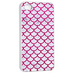 Scales1 White Marble & Pink Leather (r) Apple Iphone 4/4s Seamless Case (white) by trendistuff