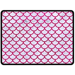 Scales1 White Marble & Pink Leather (r) Double Sided Fleece Blanket (large)  by trendistuff