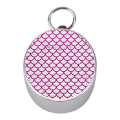 Scales1 White Marble & Pink Leather (r) Mini Silver Compasses