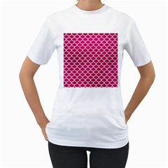 Scales1 White Marble & Pink Leather Women s T Shirt (white) (two Sided)