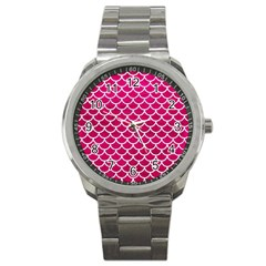 Scales1 White Marble & Pink Leather Sport Metal Watch by trendistuff