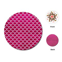 Scales1 White Marble & Pink Leather Playing Cards (round)