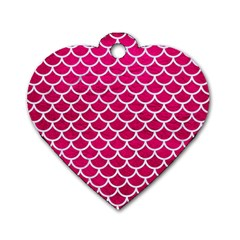 Scales1 White Marble & Pink Leather Dog Tag Heart (one Side)