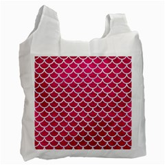 Scales1 White Marble & Pink Leather Recycle Bag (one Side)