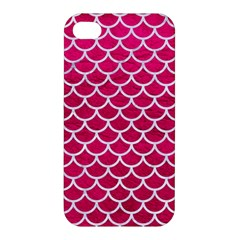 Scales1 White Marble & Pink Leather Apple Iphone 4/4s Premium Hardshell Case by trendistuff