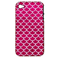 Scales1 White Marble & Pink Leather Apple Iphone 4/4s Hardshell Case (pc+silicone) by trendistuff