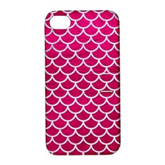 Scales1 White Marble & Pink Leather Apple Iphone 4/4s Hardshell Case With Stand by trendistuff