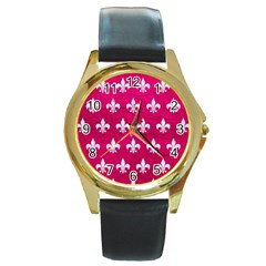 Royal1 White Marble & Pink Leather (r) Round Gold Metal Watch by trendistuff