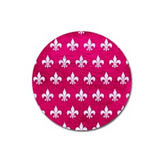 Royal1 White Marble & Pink Leather (r) Magnet 3  (round)