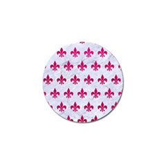 Royal1 White Marble & Pink Leather Golf Ball Marker
