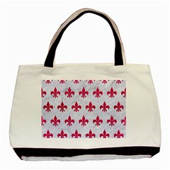 Royal1 White Marble & Pink Leather Basic Tote Bag
