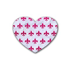 Royal1 White Marble & Pink Leather Heart Coaster (4 Pack)