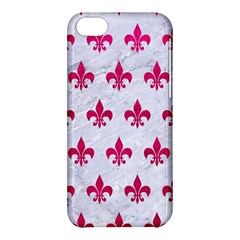 Royal1 White Marble & Pink Leather Apple Iphone 5c Hardshell Case