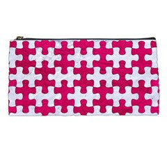 Puzzle1 White Marble & Pink Leather Pencil Cases