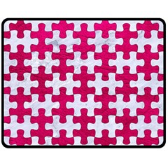 Puzzle1 White Marble & Pink Leather Fleece Blanket (medium)  by trendistuff