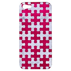 Puzzle1 White Marble & Pink Leather Apple Iphone 5 Hardshell Case by trendistuff