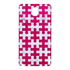 Puzzle1 White Marble & Pink Leather Samsung Galaxy Note 3 N9005 Hardshell Back Case by trendistuff