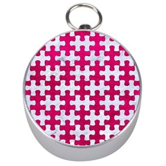 Puzzle1 White Marble & Pink Leather Silver Compasses