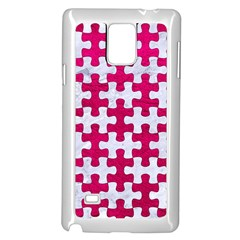 Puzzle1 White Marble & Pink Leather Samsung Galaxy Note 4 Case (white) by trendistuff