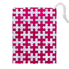 Puzzle1 White Marble & Pink Leather Drawstring Pouches (xxl) by trendistuff