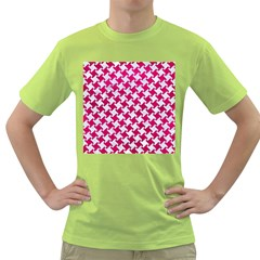 Houndstooth2 White Marble & Pink Leather Green T Shirt