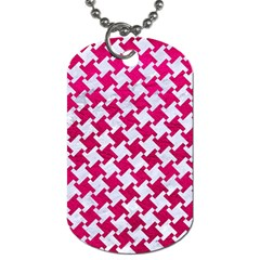 Houndstooth2 White Marble & Pink Leather Dog Tag (one Side)