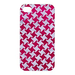Houndstooth2 White Marble & Pink Leather Apple Iphone 4/4s Premium Hardshell Case