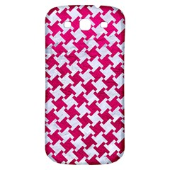 Houndstooth2 White Marble & Pink Leather Samsung Galaxy S3 S Iii Classic Hardshell Back Case