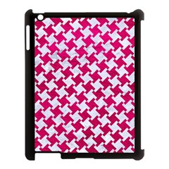 Houndstooth2 White Marble & Pink Leather Apple Ipad 3/4 Case (black)