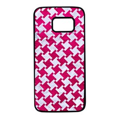 Houndstooth2 White Marble & Pink Leather Samsung Galaxy S7 Black Seamless Case