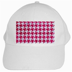 Houndstooth1 White Marble & Pink Leather White Cap