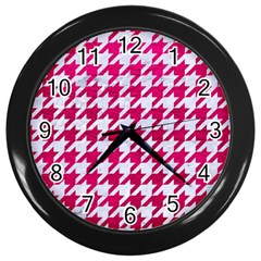 Houndstooth1 White Marble & Pink Leather Wall Clocks (black) by trendistuff
