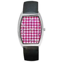 Houndstooth1 White Marble & Pink Leather Barrel Style Metal Watch