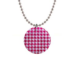 Houndstooth1 White Marble & Pink Leather Button Necklaces