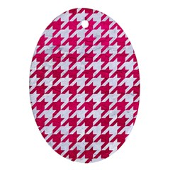 Houndstooth1 White Marble & Pink Leather Oval Ornament (two Sides)