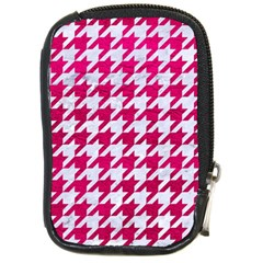 Houndstooth1 White Marble & Pink Leather Compact Camera Cases by trendistuff