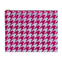Houndstooth1 White Marble & Pink Leather Cosmetic Bag (xl)