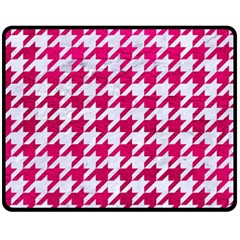 Houndstooth1 White Marble & Pink Leather Fleece Blanket (medium)