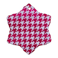 Houndstooth1 White Marble & Pink Leather Ornament (snowflake) by trendistuff