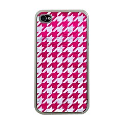 Houndstooth1 White Marble & Pink Leather Apple Iphone 4 Case (clear) by trendistuff