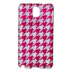 Houndstooth1 White Marble & Pink Leather Samsung Galaxy Note 3 N9005 Hardshell Case