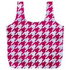 Houndstooth1 White Marble & Pink Leather Full Print Recycle Bags (l)