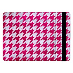 Houndstooth1 White Marble & Pink Leather Samsung Galaxy Tab Pro 12 2  Flip Case