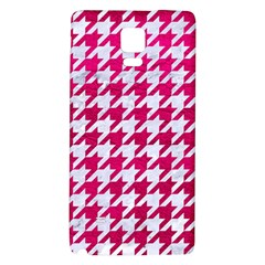 Houndstooth1 White Marble & Pink Leather Galaxy Note 4 Back Case
