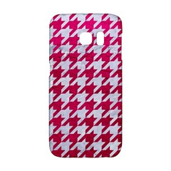 Houndstooth1 White Marble & Pink Leather Galaxy S6 Edge