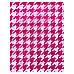 Houndstooth1 White Marble & Pink Leather Drawstring Bag (large)